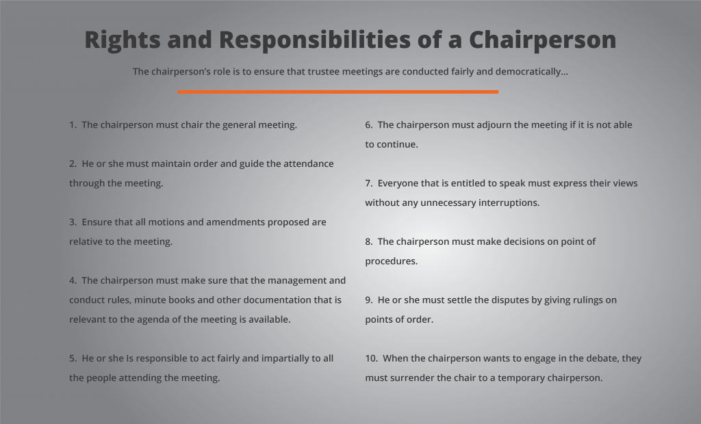 Chairperson Responsibilities | Johannesburg Lawyers & Legal Solutions